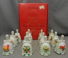 Vintage-JC-Penney-12-Days-of-Christmas-Bell-Ornament-Set-Hand-Painted-Porcelain