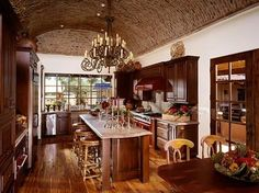 Barrel Ceiling Design with bricks! European Kitchen Cabinets, Kitchen Cabinets Pictures, Shaker Style Cabinets, Wood Kitchen Cabinets, Kitchen Flooring, European Kitchens, Tuscan Kitchens, Ikea, Kitchen And Bath Design