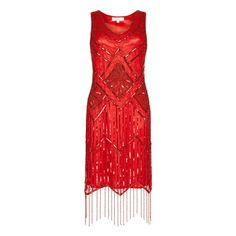 Gatsbylady Isobel Red Fringe Flapper Dress (140 CAD) ❤ liked on Polyvore featuring dresses, 20s dresses, 1920s flapper dress, roaring 20s dress, vintage style dresses and red flapper dress