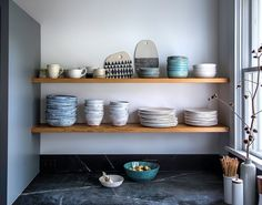 Kitchen of the Week: Hudson Valley Farmhouse Kitchen Reborn - Remodelista (dishes by Tivoli Tile Works) Farmhouse Style Kitchen, Modern Farmhouse Kitchens, Modern Farmhouse Style, Kitchen Remodel Cost, Kitchen On A Budget, Long Kitchen, 1950s Kitchen, Bar Kitchen, Ikea Kitchen