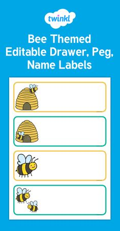 Bee Themed Editable Drawer, Peg, Name Labels - These lovely themed editable labels are a time-saving must! They can be used as nameplates for desks, name cards for cubbies or labels for your classroom - Twinkl