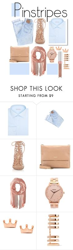 """""""Go for the Rose Gold"""" by alexandm ❤ liked on Polyvore featuring Stefano Ricci, Gianvito Rossi, Saro Lifestyle, Nixon, Mminimal, Repossi, classy, contestentry and pinstripes"""
