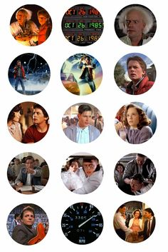"""Free Bottle Cap Images: Back to the Future 1"""" free bottle cap images Marty McFly Doc Brown"""