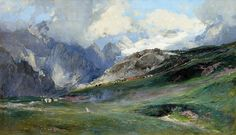 The Wetterstein Mountains with Schneefernerkopf || Edward Harrision Compton, Oil 82 x 140 cm