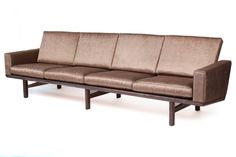 Two Cerused Oak Slat Back Sofas by Hans Wegner image 2