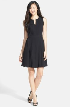 Halogen® Pleated Fit & Flare Dress (Regular & Petite) available at #Nordstrom