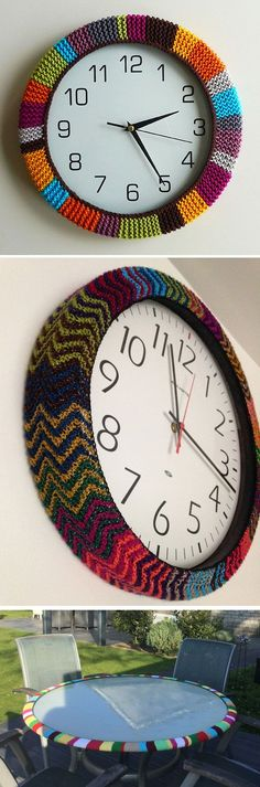 Free Knitting Pattern for Easy Clock Cozy - This Colorful Clockwork Cozy by Retrobaby is very easy. She knit a strip in garter stitch and fastened the ends together, then gathered the back edge with thread to hold it around the clock edge. Use your imagination and your scrap yarn to create a unique piece of home decor. MrsKnitsalot used a zigzag chevron lace pattern on her clock. Marijke11 adapted the pattern to cover the edge of patio table (no project notes unfortunately!).