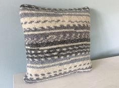 Hand knitted cushion grey and cream Fair Isle effect, Taylor and Morris, etsy UK Knitted Cushions, Etsy Uk, Hand Knitting, My Etsy Shop, Throw Pillows, Cream, Sewing, Trending Outfits, Crochet