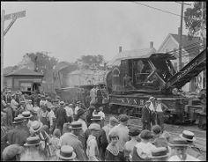Wrecked train at Stoughton, MA