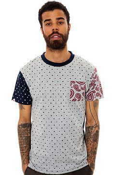 The Tiote Polka Dot and Paisley Pocket Tee in Grey Marl by Bellfield