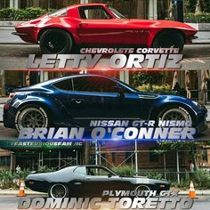 Letty, Brian and Dom cars that they drove in fast and furious Nissan Gtr R34, Nissan Skyline Gt, Fast And Furious, Vin Diesel, Paul Walker, Ford Transit Custom, Furious Movie, Street Racing Cars, Ford Mustang