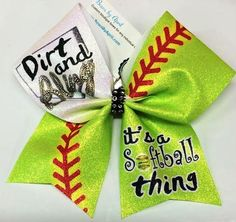 Bows by April - Dirt and Bling its a Softball Thing Glitter Softball Bow, $15.00 (http://www.bowsbyapril.com/dirt-and-bling-its-a-softball-thing-glitter-softball-bow/)