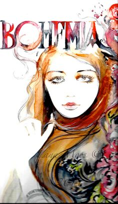 Bohemia Watercolor Painting Woman Fashion illustration home wall decor wall art contemporary modern love fine art portrait