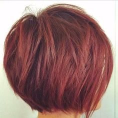 red stacked bob haircut