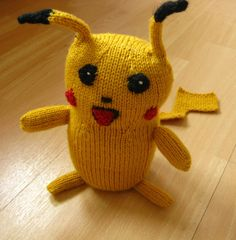 Free knitting pattern for Pikachu softie toy - Stefanie Goodwin-Ritter's toy softie for Pokemon fans stands 9 inches tall. The pictured project is by NellieJeanKitty Pikachu Pikachu, Free Knitting, Baby Knitting, Knitting Ideas, Knitted Dolls, Knitted Hats, Animal Knitting Patterns, Knit Patterns, Pokemon Craft