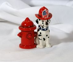 Dalmation and Fire Hydrant salt and pepper shakers Salt N Pepper, Salt Pepper Shakers, Cookie Jars, Dalmatian, Old And New, Fire