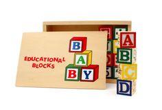 Hansen Childrens Educational Learning Wooden Alphabet Blocks with Storage Box