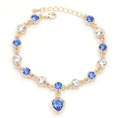 Zinc Alloy Bracelet, with 6cm extender chain, Heart, plated, charm bracelet & faceted & with rhinestone, more colors for choice, lead & cadmium free, 8x23mm,china wholesale jewelry beads