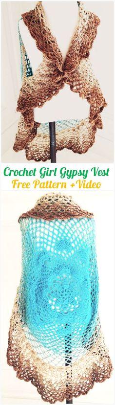 DIY Crochet Girl Gypsy Vest Circle Jacket Free Pattern -Crochet Circular Vest Sweater Jacket Patterns