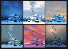 Jacob Duncan Concept Art and Illustration - Winter Moods Concept Art Tutorial, Digital Art Tutorial, Digital Painting Tutorials, Art Tutorials, Concept Art Landscape, Disney Concept Art, Pixar Concept Art, Color Script, Sketch Painting