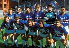Sampdoria's team in 1989: Smiley Mancini and Vialli with thick, curly hair just two of the highlights #roberto mancini #gianluca vialli #gianluca pagliuca #Srecko Katanec #Pietro Vierchowod #Victor Muñoz #Toninho Cerezo