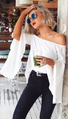 #Summer #Outfits Off The Shoulder Batwing Blouse
