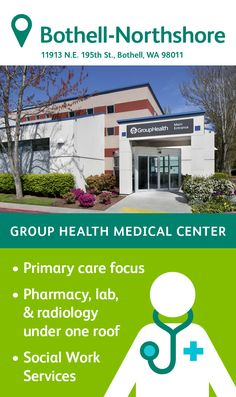 The Group Health Northshore Medical Center in Bothell specializes in primary care, featuring family medicine and pediatric physicians. You'll also find a pharmacy, lab, radiology, and injection room on site as well as social work services. Group Health, Primary Care, Radiology, Medical Center, North Shore, Adolescence, Social Work, Pediatrics, Pharmacy