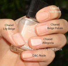 The Beauty Look Book: Chanel Le Vernis Color Comparisons For Morning Rose & Beige Pétale- Chanel Nail Polish, Chanel Nails, Beige Nails, Nude Nails, Gel Nails, Milky Nails, Rose Beige, Almond Acrylic Nails, Nail Polish Colors