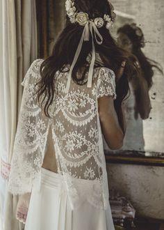 Laure de Sagazan two piece lace wedding dress