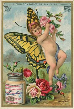 Butterfly Baby trading card issued by Liebig Extract of Beef Company. Vintage Labels, Vintage Cards, Vintage Postcards, Vintage Images, Butterfly Girl, Vintage Butterfly, Butterfly House, Vintage Artwork, Vintage Prints