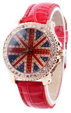 red UK flag watch ~~~ I need this! Union Jack Decor, Britain's Got Talent, Union Flags, British Things, Uk Flag, Skull Fashion, Crystal Decor, British Invasion, British Style