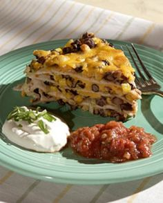 Tortilla and Black Bean Pie ~ Meatless Main Dishes