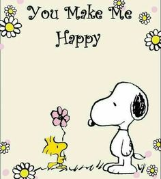Snoopy & Woodstock - You Make Me Happy ! Peanuts Cartoon, Peanuts Snoopy, Snoopy Images, Snoopy Pictures, Cute Pictures, Snoopy Und Woodstock, Snoopy Love, Happy Snoopy, Snoopy Quotes