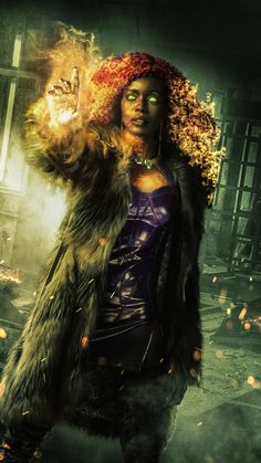 Anna Diop as Koryand'r (Starfire) Dc Universe, Teen Titans Tv Series, Live Action, Anna Diop, Original Teen Titans, Batman Gifts, Beast Boy, Deathstroke, Shadowrun