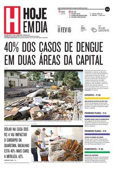 Capa do dia 11/02/2016 #HojeEmDia #Jornal #Notícias #News #Newspaper
