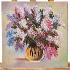Original Oil Painting on Canvas. Flowers painting. Lilac