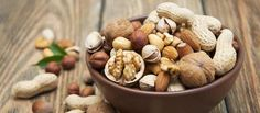 Nut assortment in a bowl with nuts next