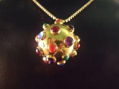 Retro Vintage Amethyst And Cabochon Sputnik Charm Pendant 18K Gold Fine Jewelry  #Handmade #CharmPendent