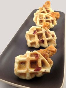 Maple Bacon Chicken and Waffle Wings made in the waffle iron
