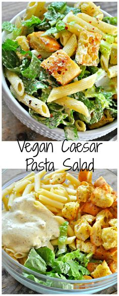 Vegan Caesar Pasta Salad - Rabbit and Wolves Vegan Caesar pasta salad is my go to summer salad. Chopped romaine, pasta, cheesy, herby croutons, tossed in the best dang vegan Caesar dressing! Healthy Recipes, Whole Food Recipes, Cooking Recipes, Healthy Food, Summer Vegetarian Recipes, Recipes Using Vegan Mayo, Top Recipes, Vegan Lunch Healthy, Vegetarian Lunch