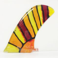 "Rainbow Fin Pivot Full 9.5"" stained glass 1 of a kind surfboard fin. USA MADE"