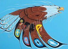 On Eagle's Wings - Shelly Fletcher Native American Artwork, Native American Symbols, Native American Artists, Native American Indians, Arte Haida, Haida Art, Dojo, Indian Symbols, Kindergarten Art Projects