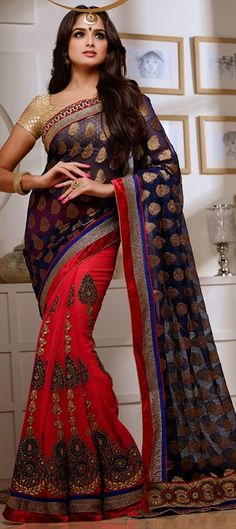 144229: Black and Grey, Red and Maroon color family Saree with matching unstitched blouse.