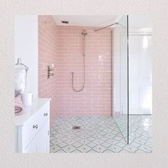 Artisans Of Devizes: For Classic & Contemporary Tiles Bathroom Sets, Loft Bathroom, Tiny Bathrooms, Family Bathroom, Small Bathroom, Contemporary Tile, Pink Tiles, Small Toilet, Bathroom