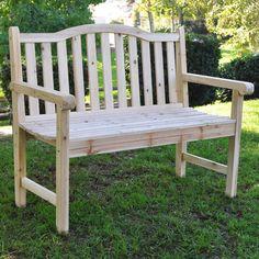 Loon Peak Buffalo Peak Wood Garden Bench & Reviews   Wayfair