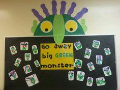 Go away big green monster Monster Book Of Monsters, Green Monsters, Halloween Themes, Halloween Fun, Preschool Halloween, Monster Bulletin Boards, Letter S Activities, Ck Summer, Big Green Monster