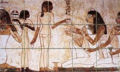 Banquet scene from the tomb By Egyptian Ancient Art Ceramic Tile Mural 30'W x 18'H(6x6 tiles), Kitchen Shower Bath Backsplash