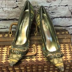 ANNE MICHELLE PUMPS Fabric and patent pumps with gold accents. See pics of wear before purchasing.. One minor scuff of fabric on toe and dents in the heels. Still a pretty pair of pumps Anne Michelle Shoes Heels