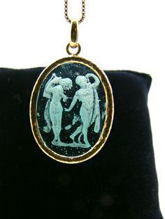 Venetian intaglio jewelry glass paste techniques, mounted in silver gold plated. Dogale jewellery Venice Italia www.veneziagioielli.com