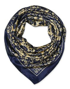 "corciova 35"" Women's Neckerchief Satin Smooth Scarf for Hair Wrapping at Night Cool Blue and White $9.99 Free Shipping"
